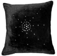 "DIAMANTÉ VELVET DESIGNER FILLED CUSHION BLACK COLOUR LARGE SIZE 22"" x 22"""